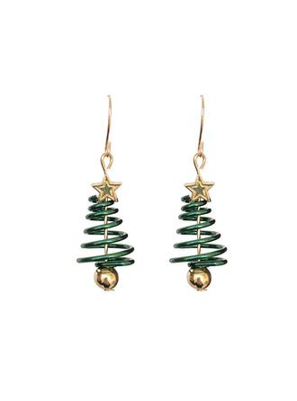 Christmas Tree Shaped Christmas Alloy Earrings 2 PCS
