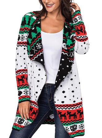 Poliester V-neck Graficzny Swetry