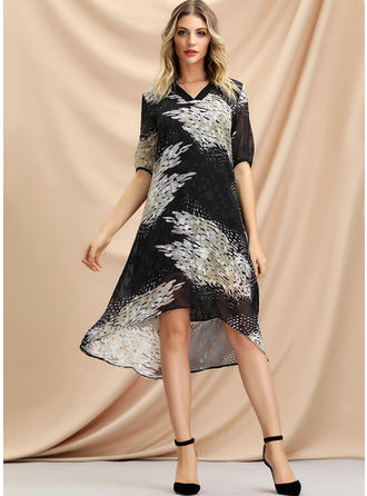 Print 1/2 Sleeves Shift Asymmetrical Casual Dresses