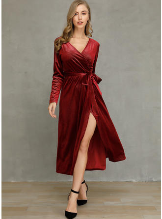 Solid Long Sleeves A-line Midi Party Dresses