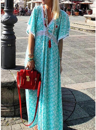 Print 1/2 Sleeves Shift Casual/Boho/Vacation Maxi Dresses