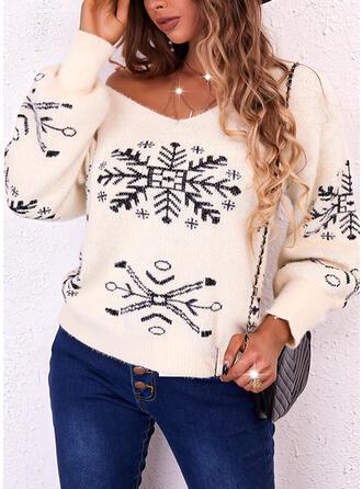 christmas Print Sneeuwvlok V-hals Casual Truien