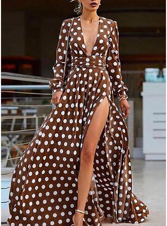PolkaDot Long Sleeves A-line Casual/Vacation Maxi Dresses