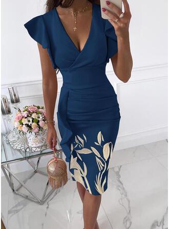 Print/Floral Short Sleeves Ruffle Sleeve Bodycon Knee Length Party/Elegant Dresses
