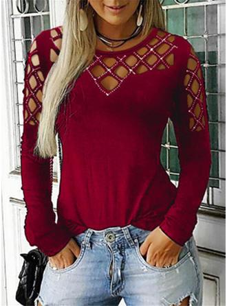 Einfarbig Rundhalsausschnitt Lange Ärmel Freizeit Stricken T-shirts