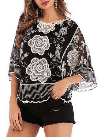 Embroidery Round Neck Batwing Sleeve 3/4 Sleeves Casual Elegant Sheer Blouses