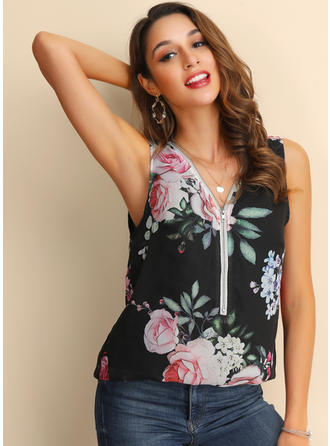 Floral V Neck Sleeveless Casual Tank Tops