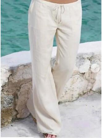 Taschen Shirred Übergröße Lange Boho Lässige Kleidung Lange Hosen