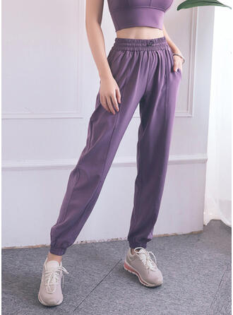 Solid Long Casual Long Solid Sporty Yoga Pants