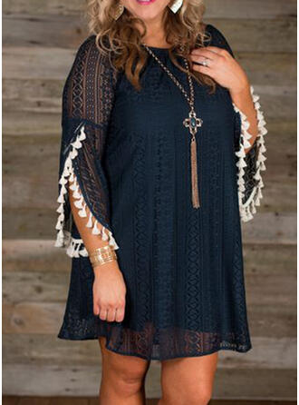 Plus Size Lace Solid 3/4 Sleeves Shift Above Knee Casual Dress