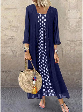 PolkaDot Long Sleeves Shift Maxi Casual Dresses