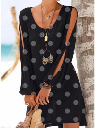 PolkaDot Cold Shoulder Sleeve Shift Above Knee Casual/Vacation Dresses