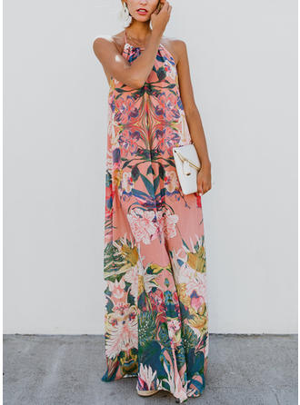 Print/Floral Sleeveless Shift Maxi Sexy/Casual/Vacation Dresses