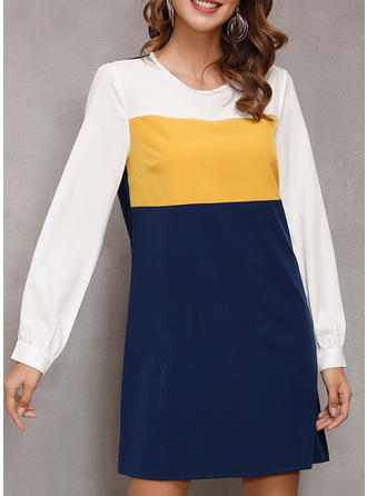 Color Block Long Sleeves Shift Above Knee Casual/Elegant Dresses