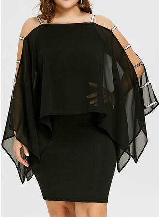Solid Long Sleeves/Cold Shoulder Sleeve Bodycon Knee Length Little Black/Casual/Plus Size Dresses