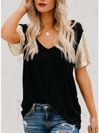 Sequins V Neck Short Sleeves Casual Blouses