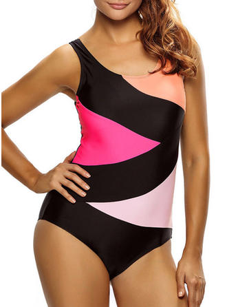 Colorful U-Neck Elegant Plus Size One-piece Swimsuits