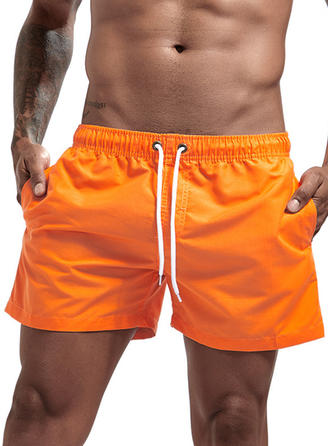 Men's Solid Color Drawstring Swim Trunks