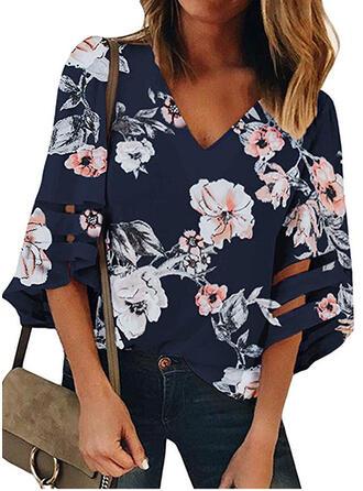 Impresión Floral Cuello en V Mangas 3/4 Casual camiseta