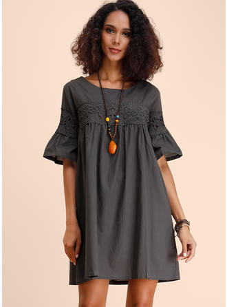 Lace/Solid 1/2 Sleeves Shift Above Knee Casual Dresses