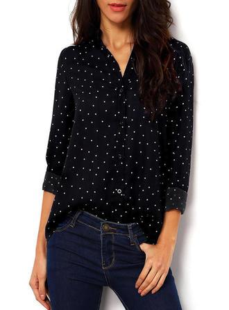 Baumwollmischungen Revers Einfarbig Lange Ärmel Hemd Blusen
