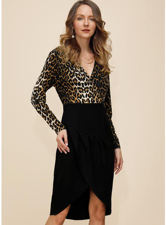 Animal Print Long Sleeves Sheath Asymmetrical Party/Elegant Dresses