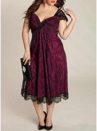 Polyester With Lace Midi Dress