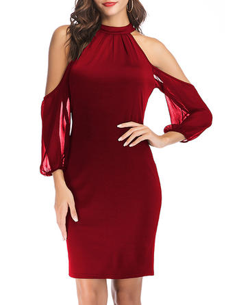 Solid Round Neck Above Knee Bodycon Dress