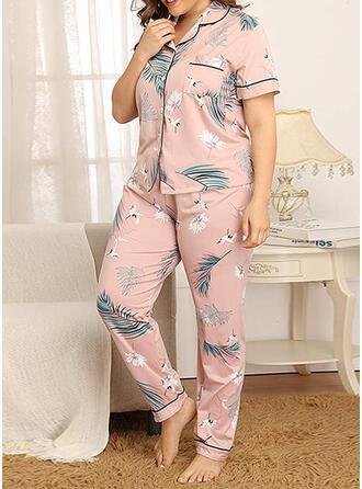 Shirt collar Short Sleeves Floral Attractive Pajamas Sets