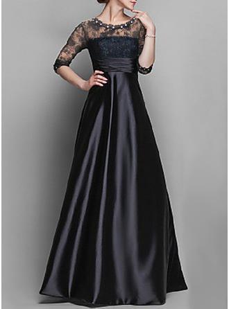 Koronka/Jednolita Rękawy 1/2 W kształcie litery A Maxi Mała czarna/Przyjęcie/Elegancki Sukienki
