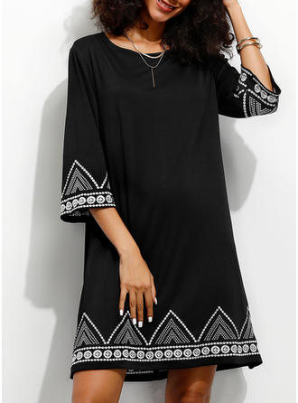 Print 3/4 Sleeves Shift Above Knee Casual/Elegant/Vacation Dresses
