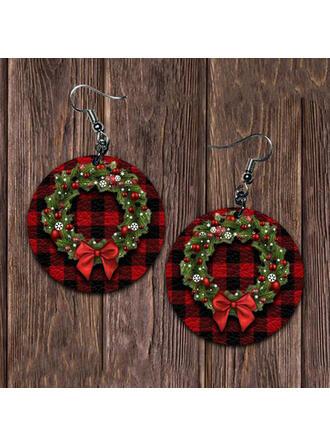 Navidad Coronas de navidad Aleación PU De mujer Pendientes 2 piezas