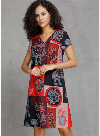 Print/Patchwork Short Sleeves Shift Knee Length Casual/Boho/Vacation Dresses