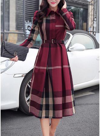 Plaid Long Sleeves A-line Knee Length Elegant Dresses