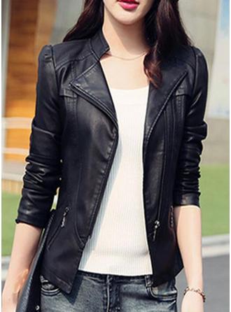 Leather Long Sleeves Plain Jackets