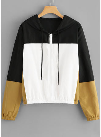 Polyester Color Block Hoodie
