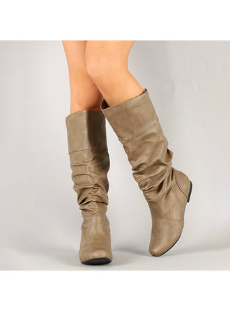 Women's Leatherette Flat Heel Boots Knee High Boots With Others shoes