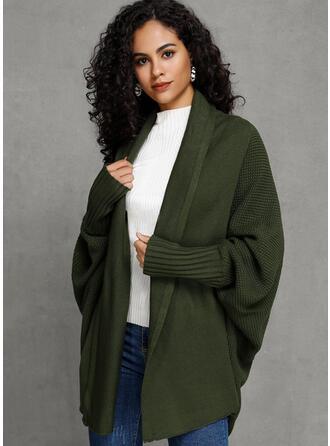 Polyester Uzun kollu Sade Geniş Waisted Coats