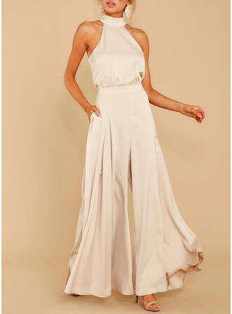Solid Halterneck Ermeløs Elegant Party jumpsuit