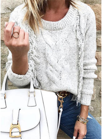 Solid Cable-knit Crew Neck Sweaters
