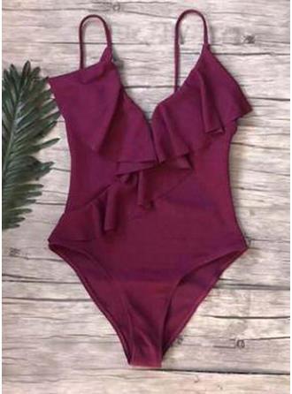 Splice color Strap Elegant One-piece Swimsuits