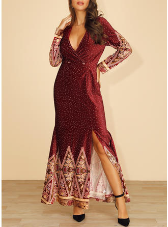 Print/Floral/PolkaDot Long Sleeves Sheath Maxi Party/Elegant Dresses