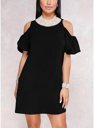 Solid Cold Shoulder Sleeve Shift Above Knee Little Black/Party Dresses