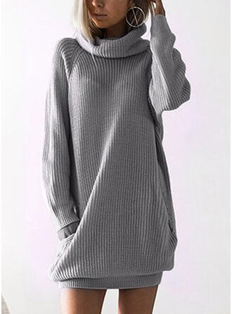 Solid Pocket Turtleneck Sweater Dress