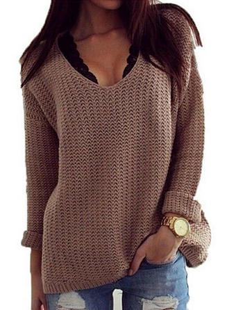 Bomull V-neck Solid färg Tröjor
