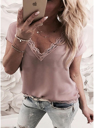 Solid V Neck Short Sleeves Casual Blouses
