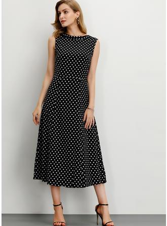 PolkaDot Sleeveless A-line Midi Casual/Elegant Dresses