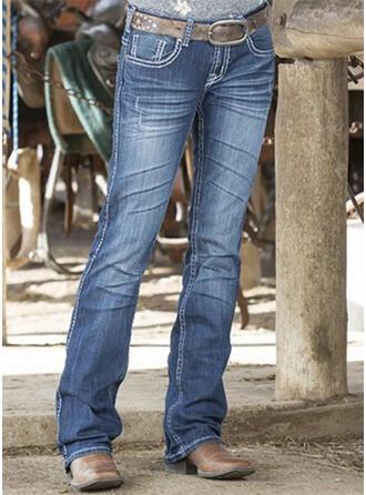 твердый джинсы Длинная Повседневная Винтаж Большой размер Pocket Джинсы