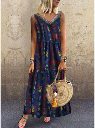 Print Sleeveless Shift Maxi Casual/Vacation Dresses