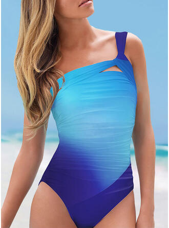 Splice color One-Shoulder Sexy One-piece Swimsuits
